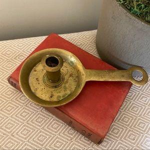 Vintage Accents - Vintage brass chamber candle holder Williamsburg